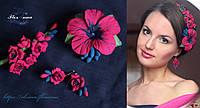 Веточка фрезии+тропическая заколка + серьги. Комплект украшений с цветами.из полимерной глины