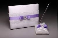 Книга пожеланий с ручкой для сиреневой свадьбы