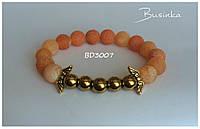 Браслет женский жёлто-оранжевого цвета из натуральных камней Агата и Гематита  BD3007