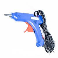 Клеевой пистолет 7 мм с кнопкой и индикатором, 20 Вт (термопистолет), СИНИЙ