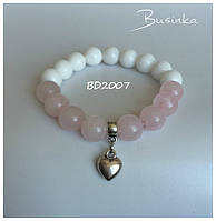 Браслет женский белый с розовым из натуральных камней  с подвеской Сердце BD2007