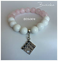 Браслет женский белый с розовым из натуральных камней  с подвеской  BD2008