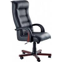 Кресло для руководителя Роял Люкс орех Кожа Сплит черная