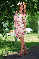 Платье Розовая ромашка короткое