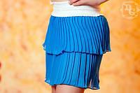 Детская юбка плиссе бирюза