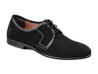 Комфортные туфли черный замша на шнурке