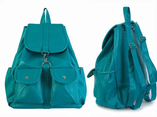 Кожаный рюкзак Морская волна