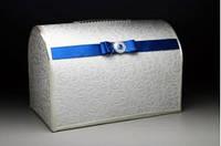 Свадебная казна для денег с элементами декора в синем цвете