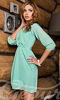 Женское короткое летнее платье с поясом на подкладке из тонкой вискозы шифон