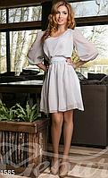 Женское короткое шифоновое платье с поясом круглый вырез на горловине горох