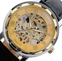 Механические часы Winner Skeleton. Элегантные мужские часы. Браслет кожа. Интернет магазин часов. Код: КЧТ3