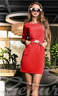 Женское молодежное короткое платье с рукавами до локтя на юбке боковые карманы приталенное крепдешин