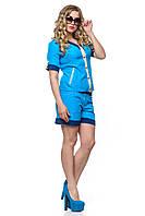 Голубой костюм жакет и шорты лето 2015