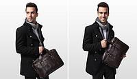 Стильная кожаная сумка. Мужской портфель. Модная сумка. Бизнес сумка. Код: КСД4.