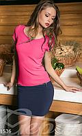Женское короткое платье с обтягивающей юбкой рукав короткий с полускрытыми карманами застежка молния сзади
