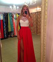 """Летнее вечернее платье в пол """"Долли"""" с разрезом и шифоновой юбкой (3 цвета)"""