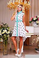 Яркое летнее платье хвостом из шифона