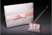 Свадебная книга пожеланий с ручкой c лентой персикового цвета с кружевами