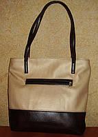 Нежная двухцветная сумка (бежевый/коричневый)