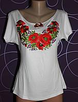 Женская вышиванка с маками, р 42-50