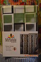 """Штора для ванны """"Миранда"""" цвет серо-зеленые квадраты, производитель Турция"""