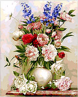 Картина по номерам на холсте Babylon Букет в белой вазе