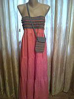 Сарафан в пол с сумочкой без бретелек из хлопка