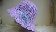 Ажурная летняя шляпка из рисовой соломки вязанная крючком