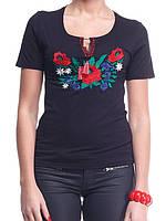 Молодежная женская футболка вышиванка в черном цвете