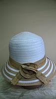 Женская шляпка для лета из рисовой соломки  цвет - голубой с серым