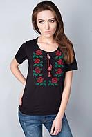 Красивая молодежная футболка с вышитыми цветами