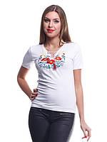 Трикотажная футболка вышиванка на лето белая
