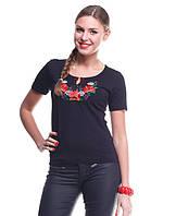 Модная вышитая футболка из качественного трикотажа на лето