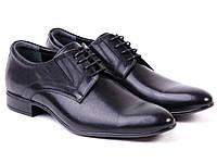 Классические черные мужские туфли из натуральной кожи