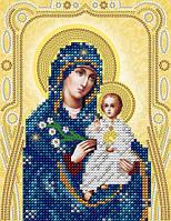 Схема на ткани для вышивания бисером Икона Пресвятой Богородицы Неувядаемый цвет (золото)