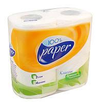 Туалетная бумага Рута 100%Paper Белый 4шт