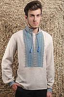 Мужская вышиванка из бежевого полотна
