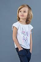 Летняя белая футболка для девочки