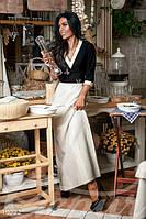 Вечернее женское платье в пол рукав три четверти юбка трапеция застежка молния на спине дайвинг
