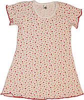 Ночнушка для девочки, белая в красные цветочки, рост 98 см, 110 см, Фламинго