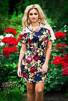 """Яркое женское платье-туника""""Ассиметрия+цветочный принт"""""""