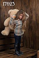 "Стильная детская рубашка туника ""Барберри макси"""" мод 2-040"