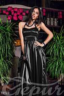 Женское вечернее корсетное платье в пол на спинке переплет тесьмой с потайной молнией стрейч атлас
