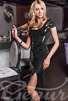 Женское вечернее платье в пол декорирована пайеткой с коротким рукавом глубоким вырезом декольте стрейч сетка