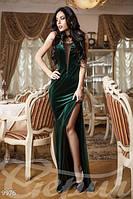 Вечернее женское платье без рукавов с открытой спинкой глубокий разрез по ноге бархат эко кожа