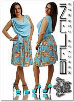 Женское платье- штапель.Код-3029-голубое+цветы-48-50р.