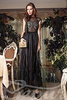Женское вечернее платье без рукава с двухслойной юбкой пришитым атласным поясом на спине потайная молния