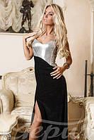 Женское корсетное вечернее платье в пол комбинированное велюр