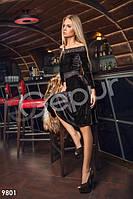Вечернее женское платье с длинным рукавом гипюровыми вставками юбка солнце бархат