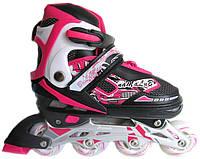 Роликовые коньки ролики раздвижные Sport с алюминиевой рамой размер 31-34, 35-38, 39-42 розовые